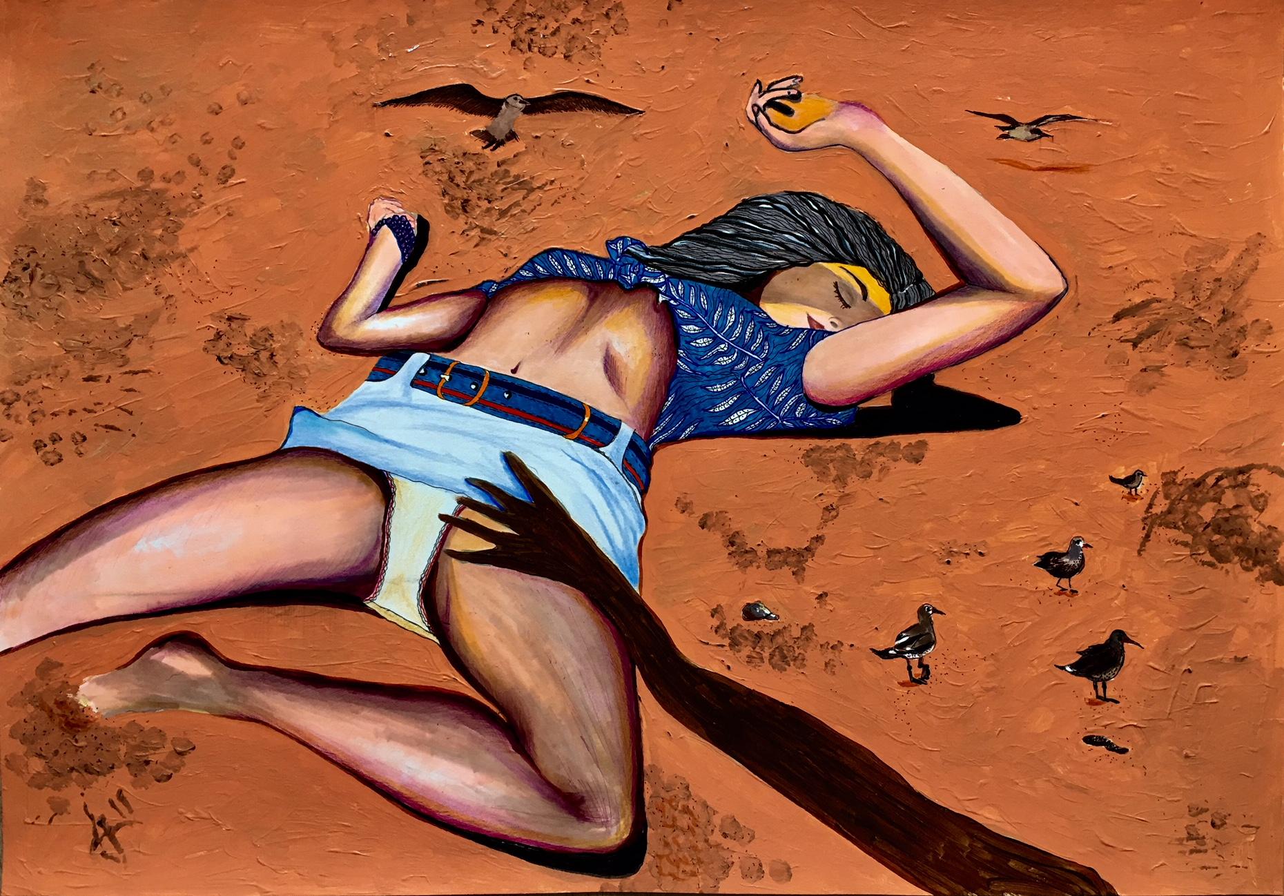 Lady on sand