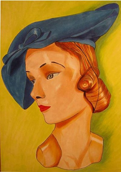 BLUE hat lady